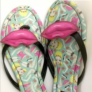 Iron fist sandals flip flops doll parts pink lips